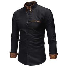 2018 Fashion Brand Men Shirt Pocket Decoration Dress Shirt Long Sleeve Slim Fit Camisa Masculina Casual Male Shirts Large Size