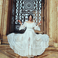 Free Shipping 2017 New Fashion Lace Embroidery Beaded Long Maxi White Dresses Vintage Royal S L