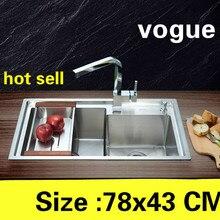 Квартира прочная 304 нержавеющая сталь vogue роскошная кухня ручная раковина двойной паз Горячая 780x430 мм