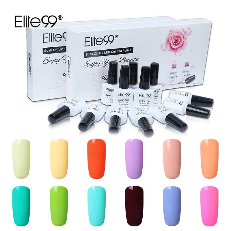 Elite99 Macaron Pure Color Gift Box Set Nail Gel Polish Vernis Soak Semi Permanent UV Gel Varnish Nail Art Manicure Gel Lacquer