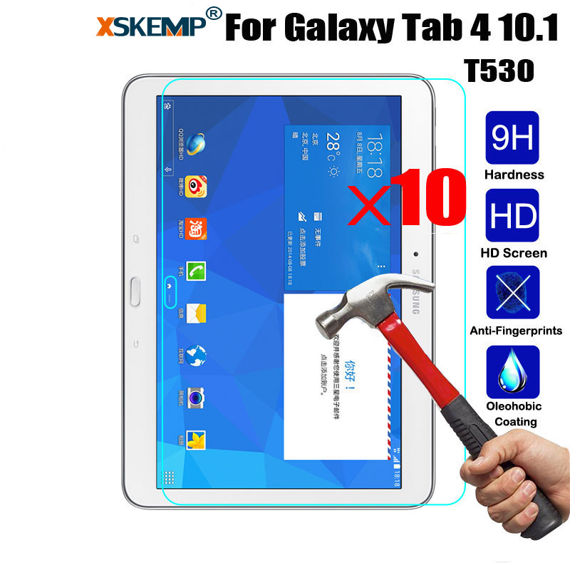 XSKEMP 10Pcs Tempered Glass For Samsung Galaxy Tab 4 10.1 T530 T531 T535 T537 Prevent Scratch Tablet PC Screen Protector Film
