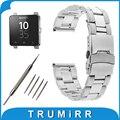 24mm faixa de relógio de aço inoxidável para sony smartwatch 2 sw2 segurança Cinto de fivela Correia de Pulso Pulseira de Ouro Prata Preto + Barra de Mola