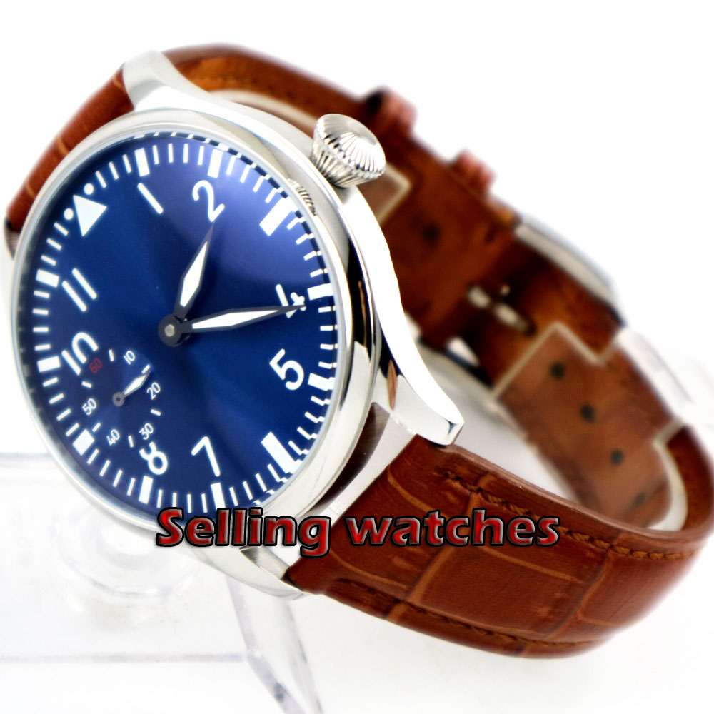 Free Shipping 44mm classic blue dial parnis luminous makrs asia 6497 movement Mechanical Watches hand winding mens watch-in Mechanical Watches from Watches    3