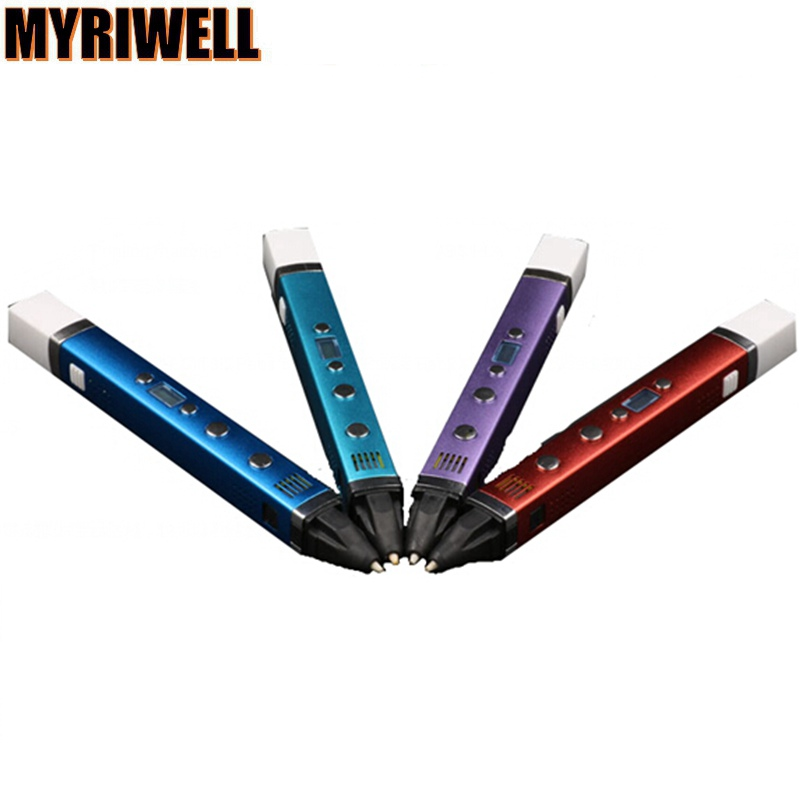New Factory Price MYRIWELL 3D Pen 3th Generation 3pcs 5 meter abs LED Screen Kids DIY