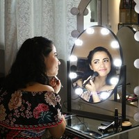 Oval Mirror Super Star Style Makeup Mirror Vanity LED Light Bulbs Kit for Dressing Table with Dimmer and Power Supply Plug In