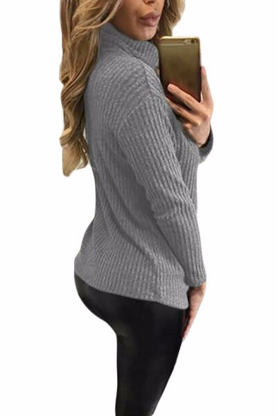Grey-Turtleneck-Lace-Up-Grommet-V-Plunge-Sweater-LC27633-11-2