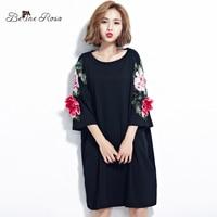 BelineRosa Plus Size Women Dresses 2017 Floral Appliques Black Cotton T Shirt Dress For Women Fit