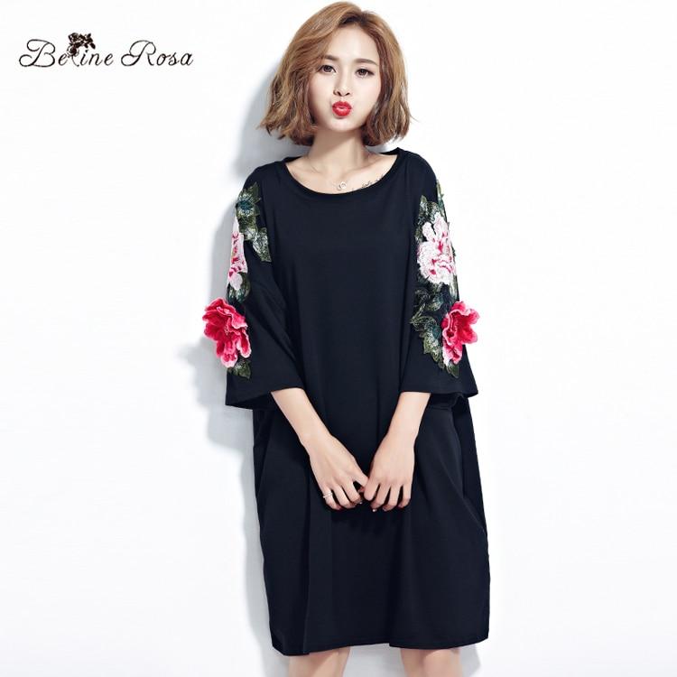 BelineRosa Plus Size Women Dresses 2017 Floral Appliques Black Cotton T Shirt Dress for Women  Fit L ~ 4XL TYW00294