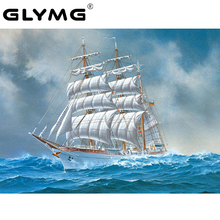 GLymg Diy Diamond Embroidery Sea Sailing Ship Ocean Painting Cross Stitch Full Square European Home Decor Mosaic Picture