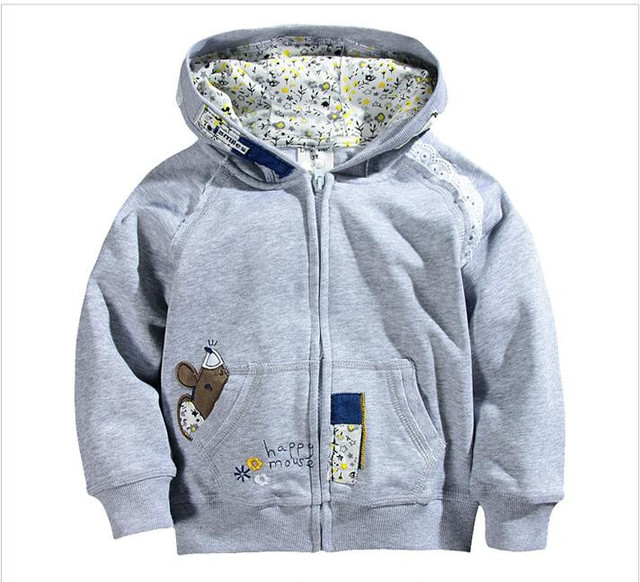YC000638 Retail Novo 2016 Outono Bebê Menina Top Hoodies Com Capuz Sólida Apliques Florais Casuais Jaqueta Casaco Menina Menina ClothesLolita