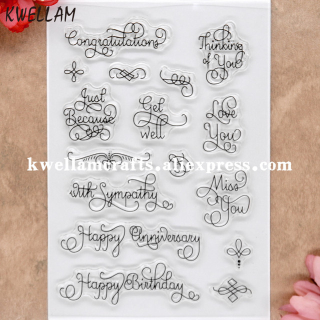 Happy Birthday Anniversary Congratulations Scrapbook DIY photo cards rubber stamp clear stamp transparent stamp 11x16cm 8071911