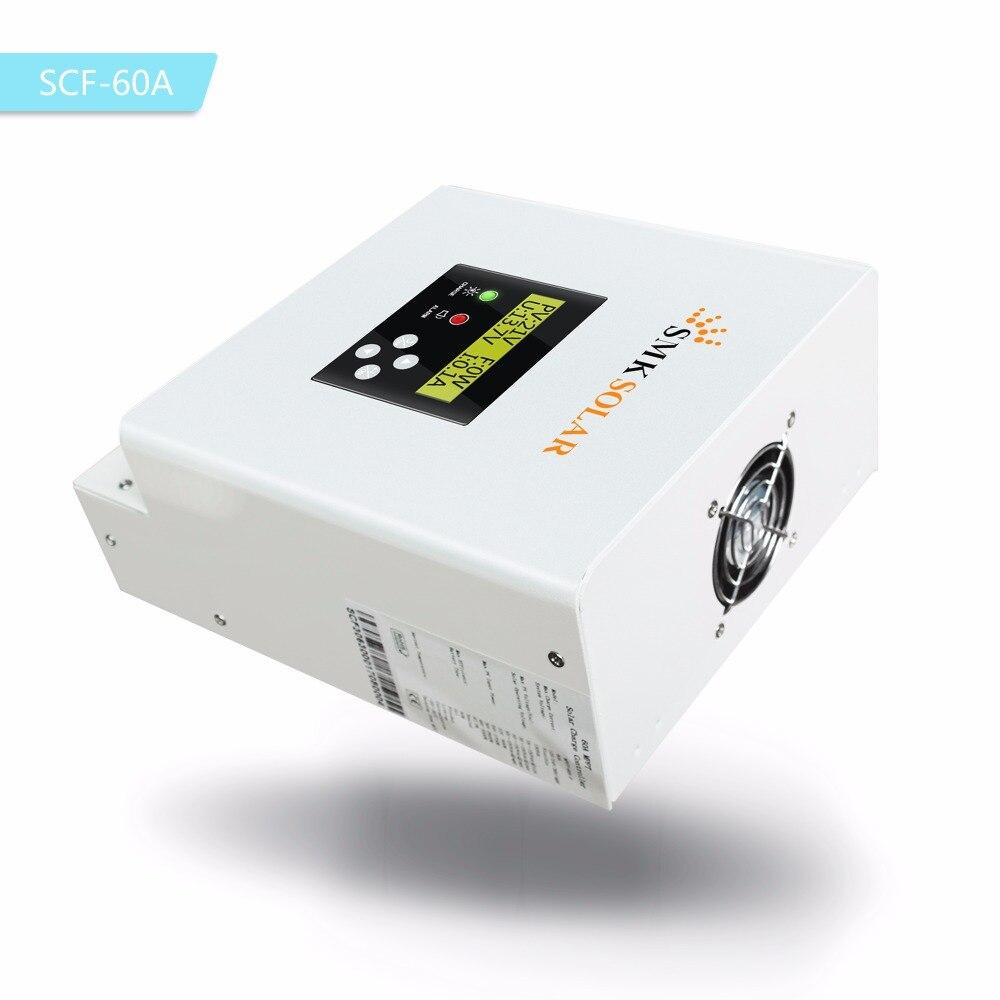 MPPT 60A Солнечный Контроллер заряда 12 В в В 24 В 36 В 48 в Солнечный  аккумулятор зарядное устройство контроллер ЖК-дисплей двойной вентилятор