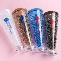 Cartoon 400ML Milk Beer Smoothie Iced Coffee Juice Water Plastic Drink Bottle Beaker Lid With Plastic Drinkware Russia Bottle