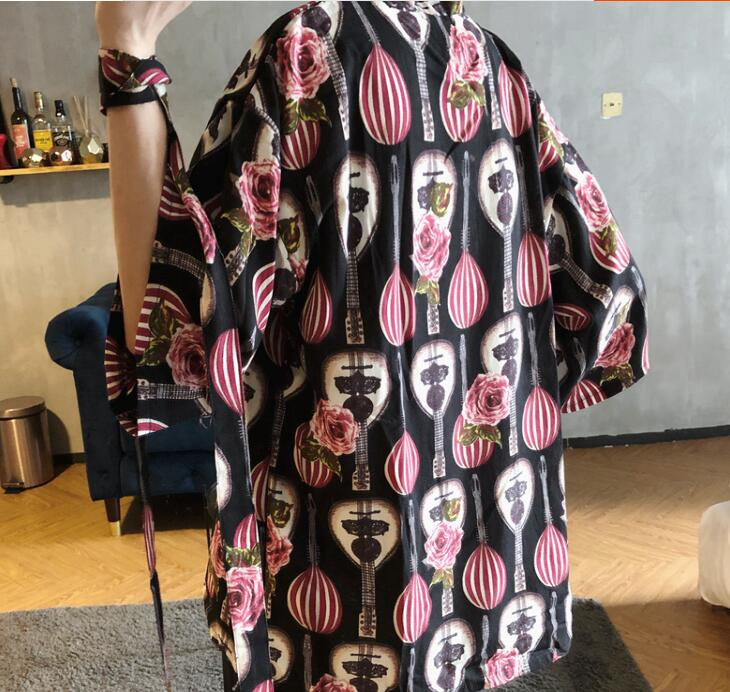 2018 summer kimono chinese style mens retro three quarter sleeve cardigan han chinese clothing loose large cotton linen