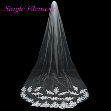 3M Lace Edge Bridal Veils with Comb One Layer White Ivory Veil Wedding In Stock Accessory