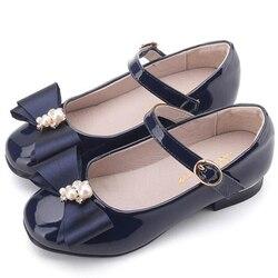 2019 Meninas Sapatos de Couro de Alta Qualidade Japanned Flats Meninas Butterfly-nó De Cristal Princesa Sapatos de Couro обувь для девочек