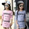 Crianças Meninas Camiseta de Algodão Carta Padronizada Longas Meninas Da Luva T-shirt Outono crianças meninas roupas de moda jovem 4 5 6 7 12 anos