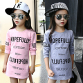 Kids Girls Tee Cotton Letter Patterned Long Sleeve Girls T-shirt Autumn Fashion Young Children Girls Clothing 4 5 6 7 12 Years