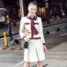 Fashion ladies two pcs set dress women big size puff sleeves embroidery blouse+pleatedskirt elegant dress vestidos XXXXXL 3137