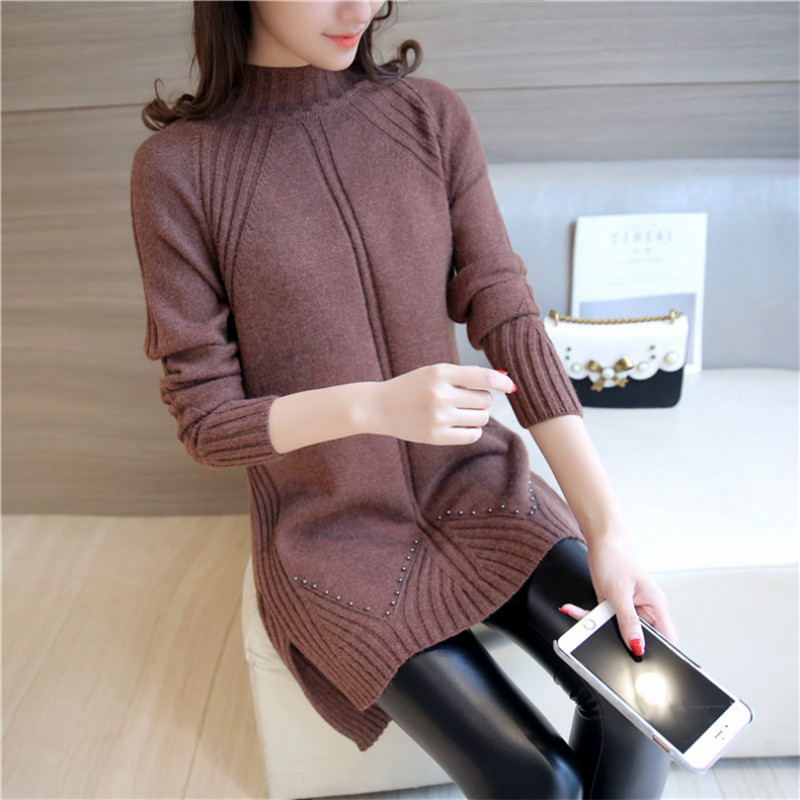 Hot Selling Simple Fashion Design Pullover Knitting Women Sweater Good Elasticity Female Long Warm Ladies Sweater Knitwear Femme
