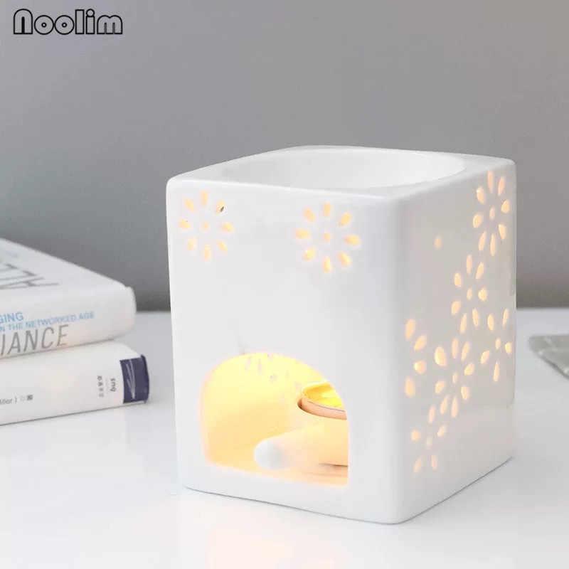สีขาวรูปแบบเซรามิคธูป Burner Aroma Burner น้ำมันโคมไฟน้ำมันหอมระเหยความร้อน Censer เทียนผู้ถือ Night ไฟ