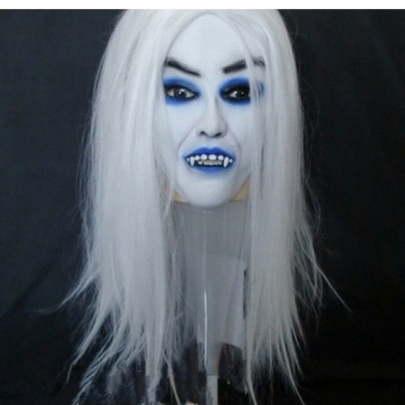 Cosplay Horrible Creepy Toothy Ghost Halloween Masks White Hair Blue Eyes Long Hair Vampire Mask Prop