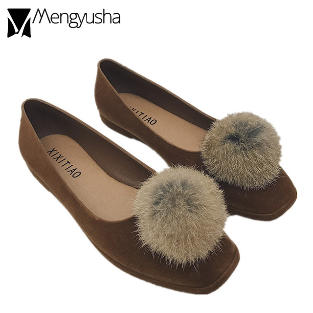 896890083850 rabbit hair ball fur shoes women cozy flock flat moccasins loafers three  colors spring fall new ballet flats pom pom shoes mujer