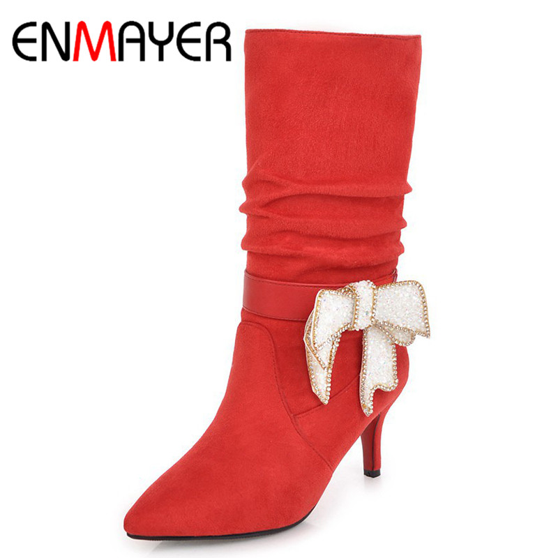 ENMAYER 2018 New Shoes Woman Mid Calf Boots Women Winter Boots Footwear Dating Party Shoes Sexy Winter Ourtide Lady Boots CY025 in Mid Calf Boots from Shoes