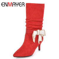 634c164fac ENMAYER 2018 New Shoes Woman Mid Calf Boots Women Winter Boots Footwear  Dating Party Shoes Sexy