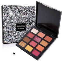 Glitter Eyeshadow Makeup Pigment Matte Nude Brown Eyes Palette Waterproof 9 Color  Eye Shadow Sequin Fast Ship