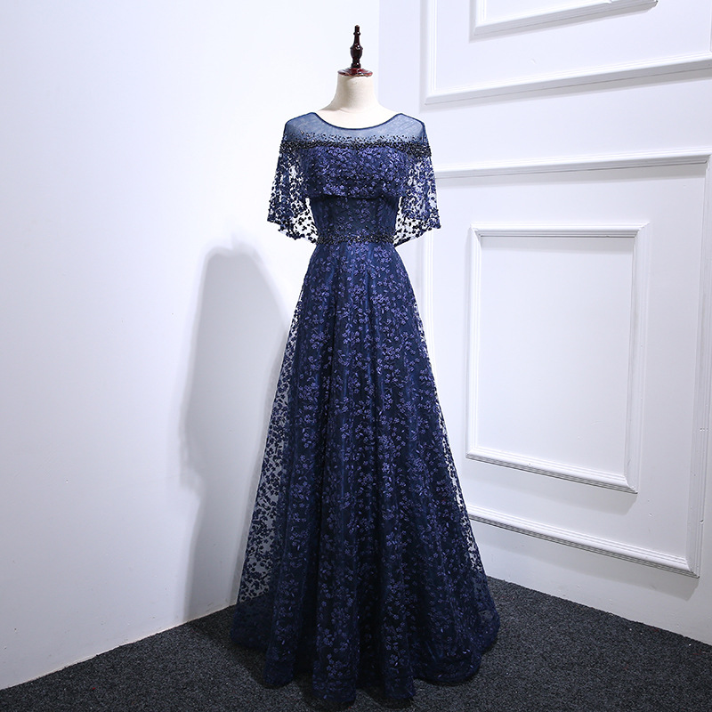2008 New Evening Dress Female Concert Piano Performance Examination Long Slender Elegant Wine Dress Summer 232