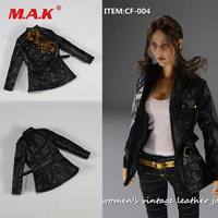 1/6 Scale Figure Clothes Accessory Female Retro Leather Jacket Coat Set for 12'' Action Figure Body