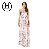 1 Pcs Sexy Casual Dresses For Woman 2016 Female Elegant Pink Peach Blossom Print Back Cross