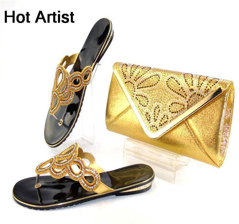Hot Artist New Arrival Summer Shoes And Bag Set Afirca Style Woman Low Heel Slipper Shoes And Bags Set For Party Gold TYS17-43 free shipping no 40 3 red color fo shoes and bag set new summer women s shoes low heel shoes crystal high heel shoes