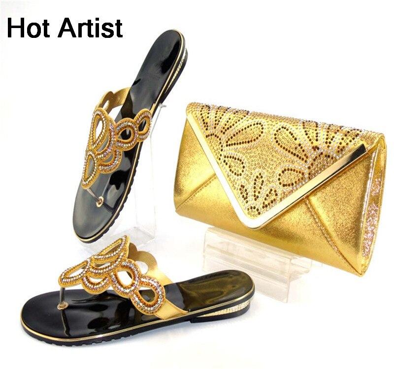 Nouveauté chaussures d'été et sac ensemble Afirca Style femme chaussures à talons bas et sacs ensemble pour la fête or TYS17-43
