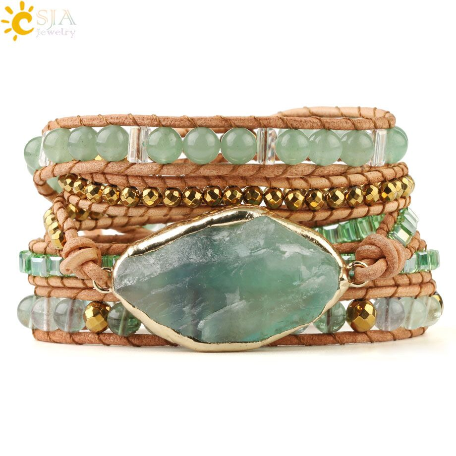 CSJA Natural Stone Bracelets Green Fluorite Crystal Aventurine Bead Leather Wrap Bracelet Multilayer Boho Jewelry Pulseira G118
