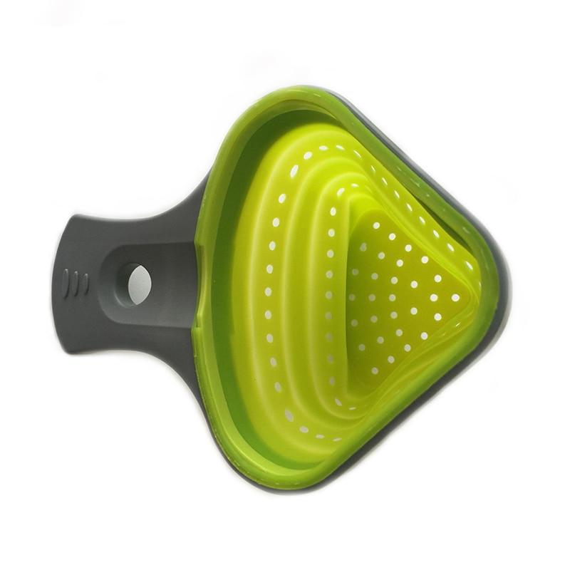 折叠式硅胶居兰德滤锅厨房滤锅意大利面网炊具篮子贝兰德厨房支撑工具KC1695(2)