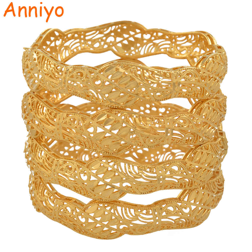 Anniyo 4pcs Dubai Bangles for Women Middle East Gold Color Arab African Wedding Bracelet Openable Jewelry Gifts #117906