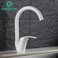 Nieneng White Kitchen Faucet Deck Mixer Sink Tap Kitchen Appliances Torneira Tools Brass Faucet Basin Water
