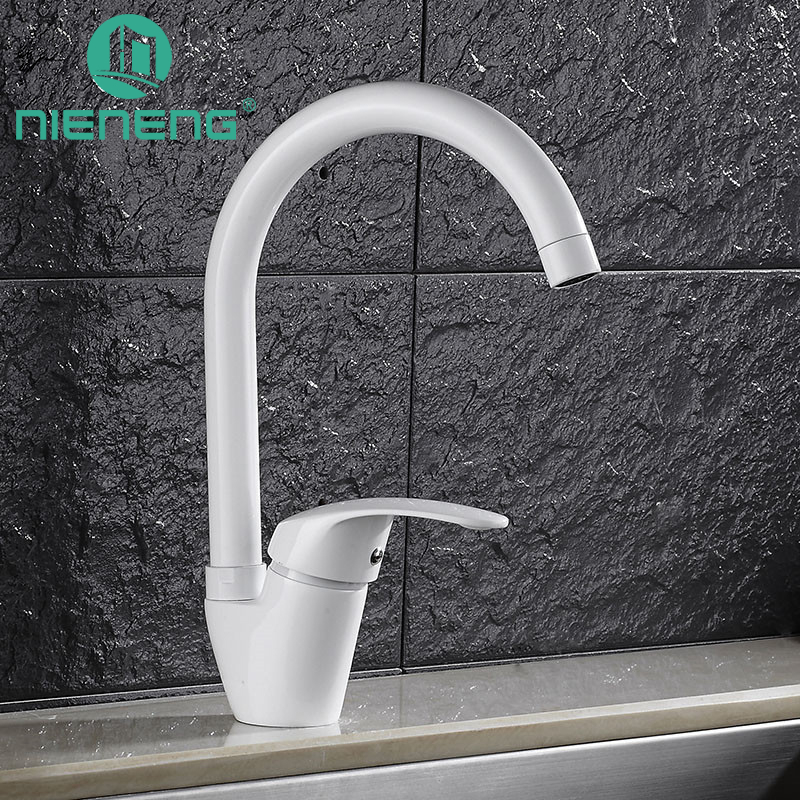 Nieneng White Kitchen Faucet Deck Mixer Sink Tap Kitchen Appliances Torneira Tools Brass Faucet Basin Water