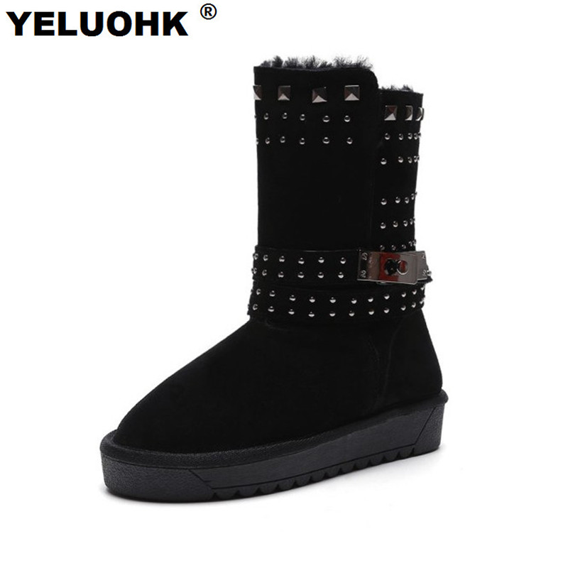 Plus Size Winter Shoes Women Snow Boots Rivet Mid Calf Female Winter Boots Warm Plush Shoes Woman Winter Platform High Quality