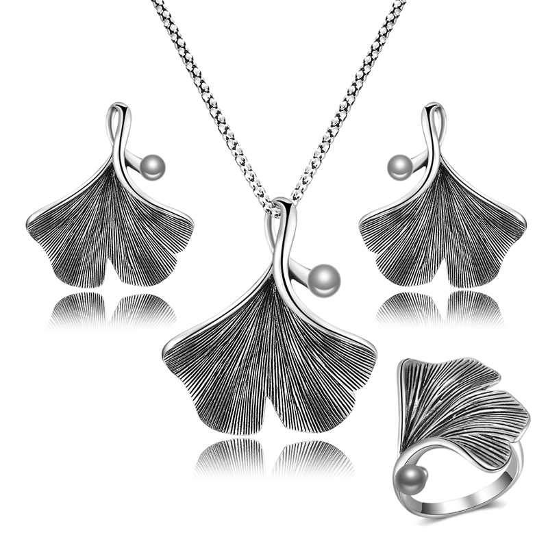 Nandudu Vintage Retro Ginkgo Leaf Pendant with Pearl Necklace Earrings Ring Jewelry Sets Grey Color Bijouterie for Women Gift