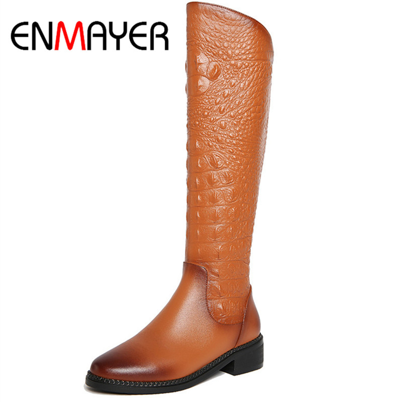 ФОТО ENMAYER Fashion Women Shoes Knee-high Boots Black Color Winter Warm Zippers Square Heel Round Toe Boots Large Size Shoes Women