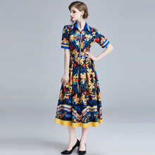 Women Printed Long Dress ARiby 2019 New Summer Office Lady Vintage Short-sleeved Swagger Turn-down Collar A-Line Dress Vestidos long sleeved dress women 2019 spring summer new simple stripes turn down collar slim a line casual elegant dress midi s xl