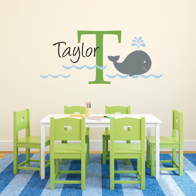 Lovely whale custom made with initial unisex diy wall decals wall art large wall stickers for