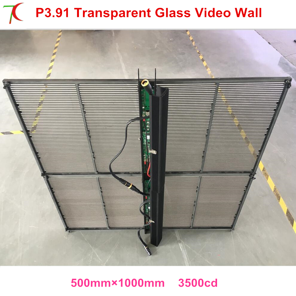 Transparent screen P3.91 normal brightness curtain LED video wall displayTransparent screen P3.91 normal brightness curtain LED video wall display