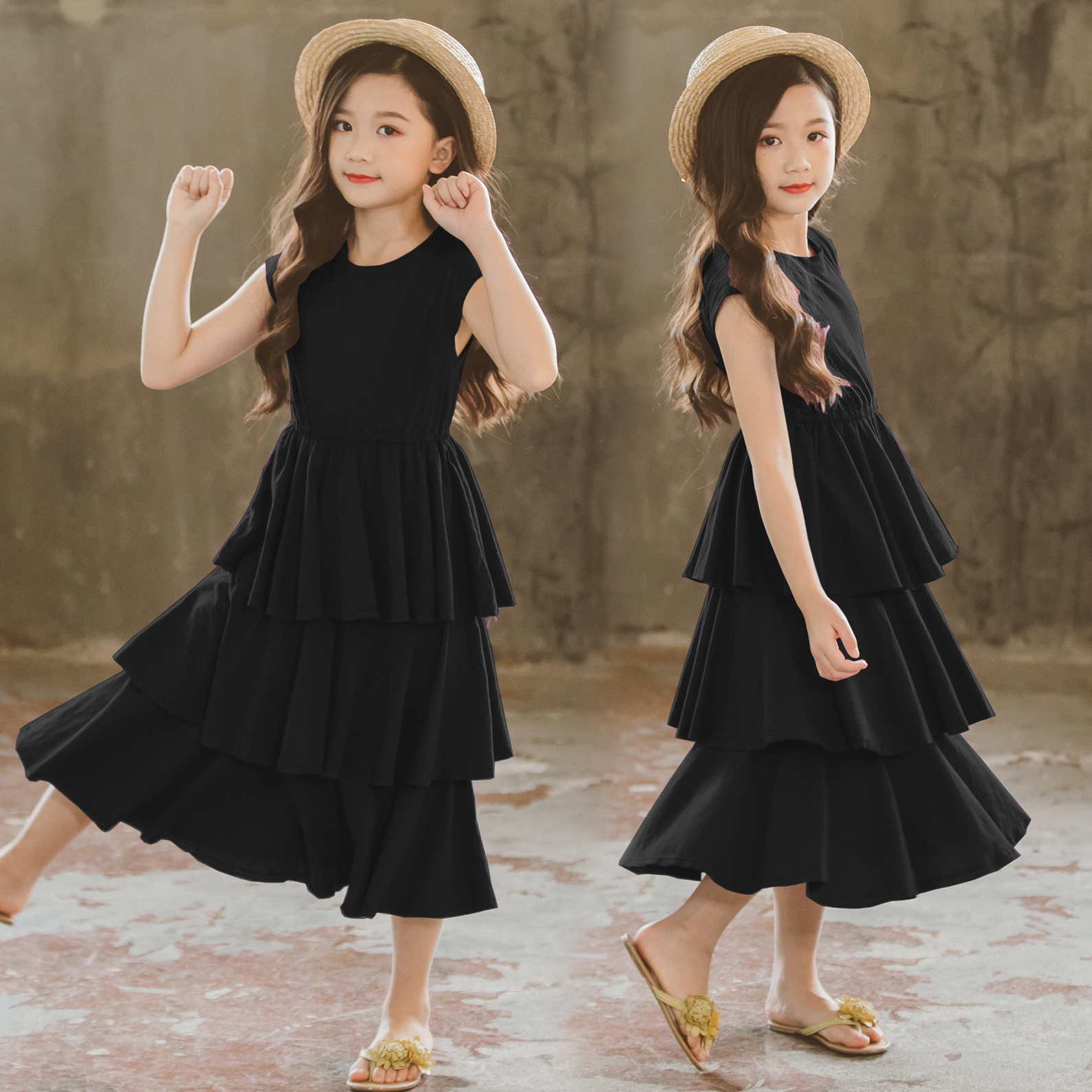 Brand Children Dress 2019 New Kids Summer Dress for Girls Cotton Layered Dress Beach Baby Clothes Toddler Sundress,#5079Brand Children Dress 2019 New Kids Summer Dress for Girls Cotton Layered Dress Beach Baby Clothes Toddler Sundress,#5079