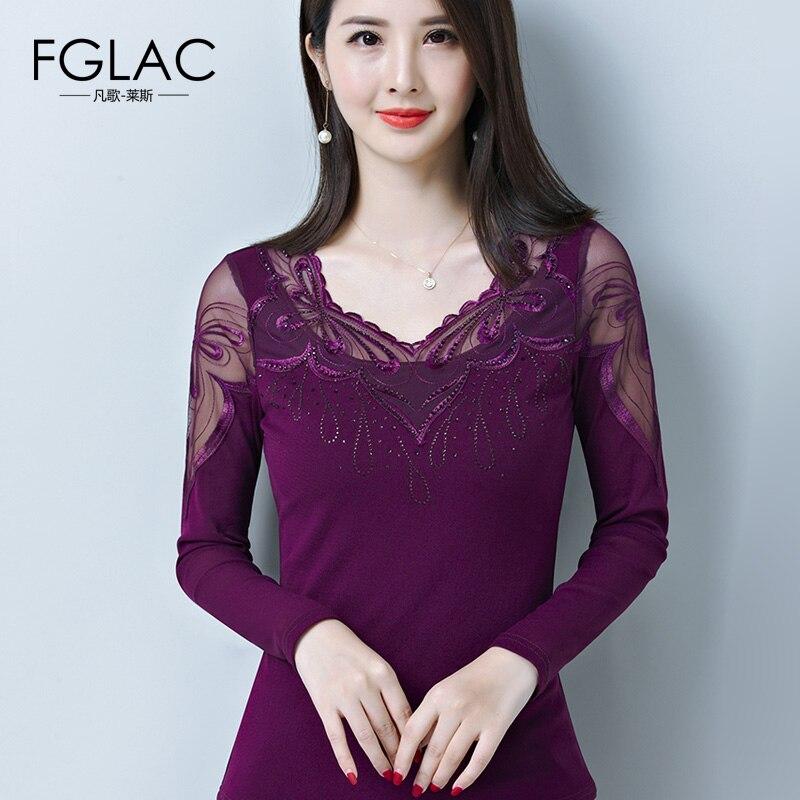 FGLAC   t     shirt   women Fashion Casual long sleeve Mesh tops Elegant Slim Hollow out lace tops plus size Autumn   T  -  Shirts   women