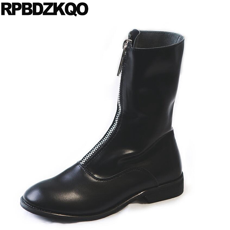 Shoes Women Boots Genuine Leather British Waterproof Side Zip Sexy Flat Round Toe Black Autumn European New Chinese Female 2017 fall low heel black side zip boots ankle metal booties short flat 2017 shoes ladies round toe female fashion new chinese