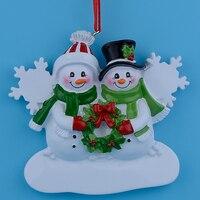 Großhandel Schneemann Familie 2 Harz Weihnachtsschmuck Personalisierte Geschenke, Können Schreiben Eigenen Namen Für Urlaub und Wohnkultur